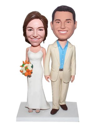 Wedding bobbleheads Customized Bobblehead Happy Couple Hand In Hand With Bouquet