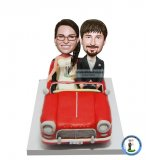 Custom Bobblehead Riding In A Car Wedding Topper