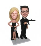 Custom Secret Service Couples Bobblehead Mr And Mrs Smith