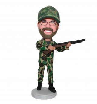 Custom Bobblehead Male In Camouflage With A Gun-Hunting Doll