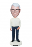 Casual Bobbleheads Male In White And Blue With One Hand On Pocke