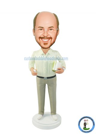 Customized Bobbleheads Teacher Man With Books And Chalk