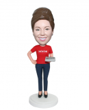 Customized Female Bobblehead Doll In Casual Dress With A Calcula
