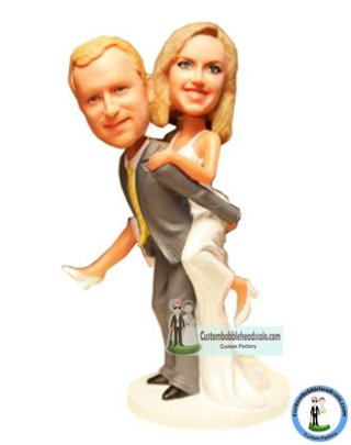 Personalized Bobbleheads Wedding Bride Jumping On Groom