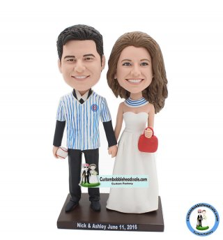 Custom Baseball Jersey Couple Wedding Bobble Head Cake Topper