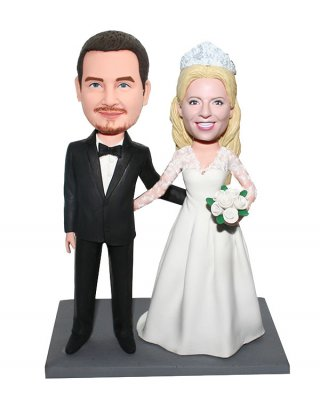 Custom Wedding Bobbleheads Bride With Crown Arms Around Groom