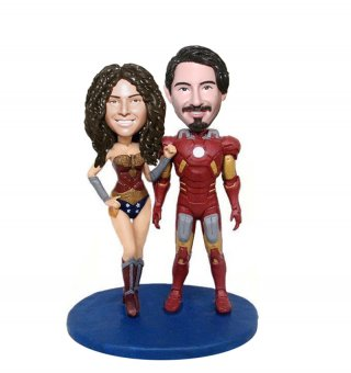Make Your OwnIron Man And Wonder Woman Couple Bobble head