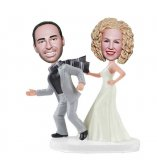 Custom Runaway Bridegroom Bobblehead Cake Toppers For Wedding