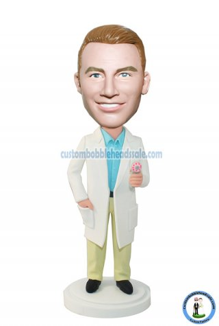 Custom Doctor Bobblehead In Lab Coat With A Cleansing Apparatus