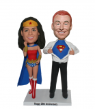 Custom Superhero Couple Bobble Head Supperman And Wonder Woman