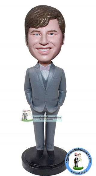 Bobbleheads For Groomsmen With Bow Tie Tray Suit Bobble Head