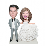Custom Wedding Cake Topper Groom And Bride Bobbleheads- Wedding