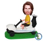 Custom Bobblehead Male In Polo Shirt And Short Driving The Golf