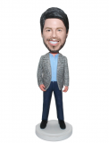 Personalized Fashion Bobbleheads Male In Srtips Suit And Blue Je