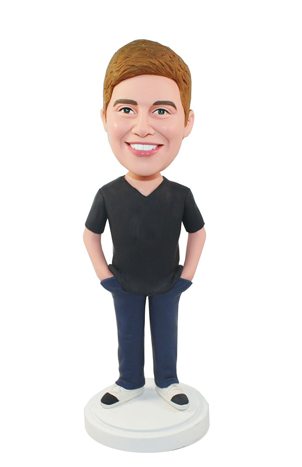 Bobbleheads Boy In V Collar Black T Shirt And Blue