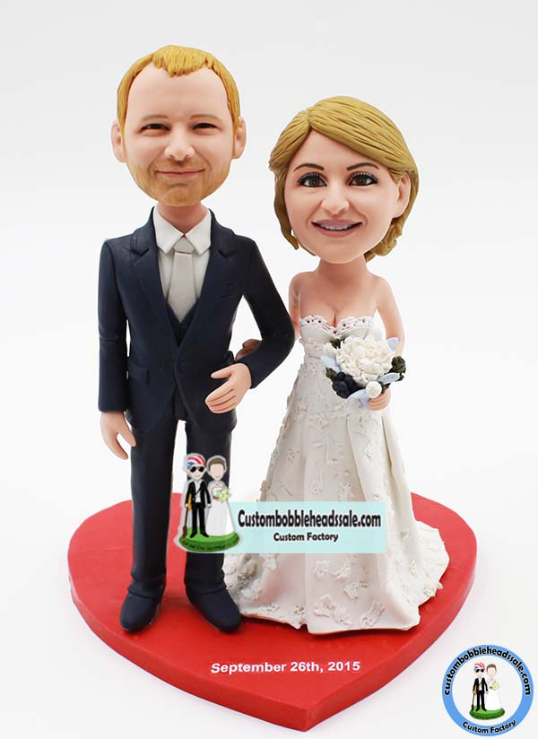 personalized bobblehead wedding cake toppers custom wedding bobble cake topper 6475