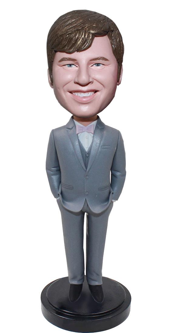 Custom Dark Grey Suit Bobble Head Groomsmen Gift